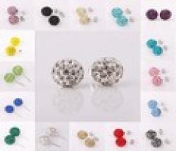 Cheap Fashion Jewelry Platinum Plate Shamballa Crystal 10MM Ball Earring Stud White Gold Color Rhinestone Stud Earring