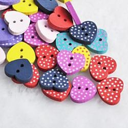 Cheap Dot Heart Shaped Scrapbook Scraft Sewing DIY Wooden Buttons(10 PCS Random Color)