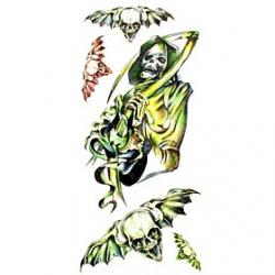 Cheap 1pc Death Zombie Waterproof Tattoo Sample Mold Temporary Tattoos Sticker for Body Art(18.5cm8.5cm)