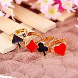 Low Price on Design New Korean Fashion Personality Funny Modern Poker Suit Adjustable Ring R722-R725