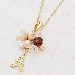 Cheap Diamond bow ribbon Eiffel Eiffel Tower necklace N505
