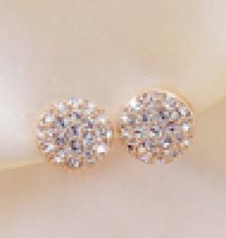 Cheap 18KG Plated 2014 New Style Korean Elegant Gorgeous Sparking Rhinestone 18KGP Zircon Round Stud Earrings E3261