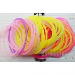 Cheap Fluorescent Multicolor Silicone Ring Fashion Hair Bands (Color Random)