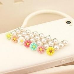 Cheap 3.5mm Lovely Daisy Pattern Pearl Anti-dust Plug for USB (Random Colors)