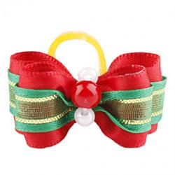 Cheap Green Ribbon Style Tiny Rubber Band Hair Bow for Dogs Cats