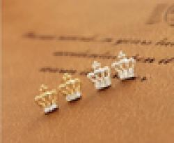 Cheap 2014 Fashion Cute Created Diamond Gold Crown Stud Earrings For Women free shipping