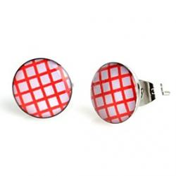 Cheap Fashion Red Plaid Stainless Steel Stud Earrings