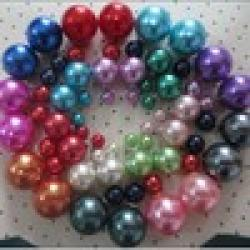 Cheap 2014 new fashion cheap colorful Double side pearl  beads earrings two ways wear  for women retail and wholesale  mini order $ 8