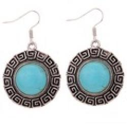 Cheap Round Vintage Pattern Edge Design Tibetan Silver Earrings Turquoise Women Gift For valentine's Day