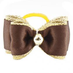 Cheap Golden Brim Tiny Rubber Band Hair Bow for Dogs Cats
