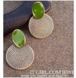 Cheap ES376 Fashion Vintage big drop of green round earrings carved Wholesales Free shipping