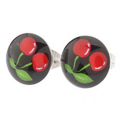 Low Price on 10 mm Cherry Symbol Stainless Steel Stud Earrings