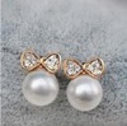 Low Price on 2014 Korean Fashion Jewelry, Butterfly Bow Knot Pearl Earrings For Women XY-E136