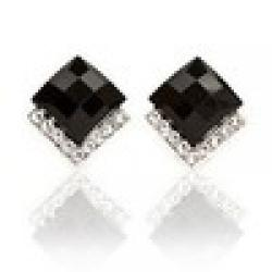 Cheap Free Shipping $10 (mix order)  New Fashion Vintage Black Stones Crystals Stud Earrings Black Jewelry