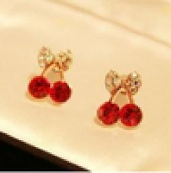 Cheap ER031 Cute little pieces of red cherry delicate drilling earrings elegant female ring fashion earrings Free shipping