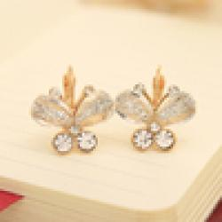 Cheap $10 (mix order) Free Shipping 2013 New FashionKorea Style Wings Rhinestones  Bow Butterfly Earrings  Jewelry 5g