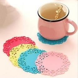 Circular Hollow-out Shape Silica Gel Mat(Color random) Sale