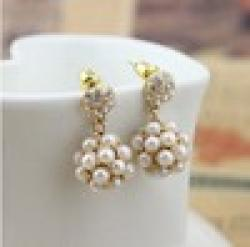 Cheap 2014 Korean Fashion Exquisite Ladies Sparkling Sphere Pearl Earrings Wholesale Jewelry XY-E425
