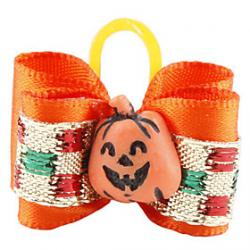 Cheap Halloween Pumpkin Style Tiny Rubber Band Hair Bow for Dogs Cats
