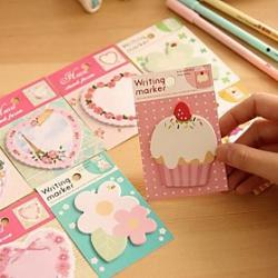 Cheap Flower Cake Heart Pattern Self-Stick Note(Random Color)