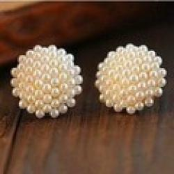 Cheap Free Shipping $10 (mix order) New Fashion Vintage Korean Full Pearl Peach Heart Earrings E467 Jewelry