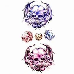 Cheap 1pc Long-eared Skull Waterproof Tattoo Sample Mold Temporary Tattoos Sticker for Body Art(18.5cm8.5cm)