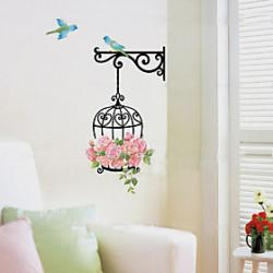 Cheap 1PCS Colorful DIY BirdcageFlower Wall Sticker
