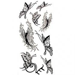 Cheap 1pc Black Butterfly Angel Waterproof Tattoo Sample Mold Temporary Tattoos Sticker for Body Art(18.5cm8.5cm)