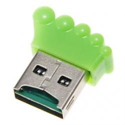 Cheap Mini USB Foot Shaped Memory Card Reader (Green)