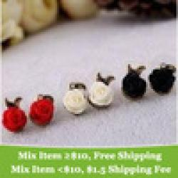 Cheap Korea Cute RetroStyle Popular Rose flower earring !cRYSTAL sHOP
