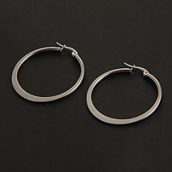 Low Price on Fashion Simple 3.0CM Flat Shape Silver Stainless Steel Hoop Earrings (1 Pair)