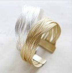 Low Price on Min. order $9 Alloy knitted twisted metal rattan Women wide bracelet 033