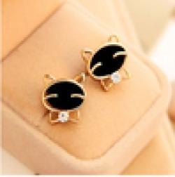 Cheap ER045 European and American fashion jewelry cute black cat smile upscale exquisite earrings female Fangzuan Free Shipping