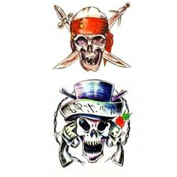 Cheap 1pc Pirate Skull Waterproof Tattoo Sample Mold Temporary Tattoos Sticker for Body Art(18.5cm8.5cm)