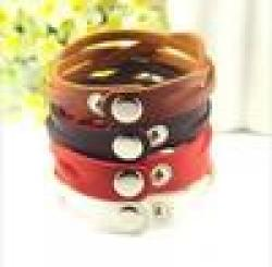 Low Price on Fashion colors leather buttons bracelet jewelry wholesale free shipping!