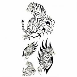 Cheap 1pc Black Tiger Waterproof Tattoo Sample Mold Temporary Tattoos Sticker for Body Art(18.5cm8.5cm)