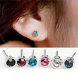 Cheap hot sale 6 colors pure simple fashion round crystal stud earrings for women jewelry