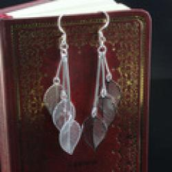 Cheap Free shipping Wholesale 925 Silver Earrings Fashion foliage Silver Drop Earrings E091