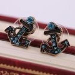 Cheap Minimal mix styles $5 Vintage Blue Rinestone Ship Anchor Earrings For Women C9R7 Free Shipping
