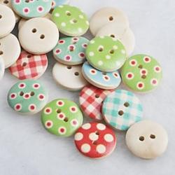 Cheap Coloured Drawing Scrapbook Scraft Sewing DIY Wooden Buttons(10 PCS Random Color)
