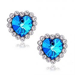 Cheap Ocean Star sapphire earrings peach heart love diamond earrings E408