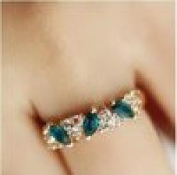 Antique Retro Emerald Rhinestone Crystal Finger Ring Wholesale Jewelry Ring O Free Shipping 3R157 Sale