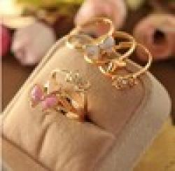 Low Price on accessories multicolour glaze heart bow cutout ring finger ring 3 piece set 3101