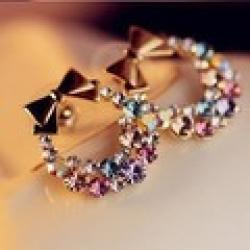 Cheap Free Shipping $10 (mix order) New Fashion Imitation Diamond Colorful Rhinestone Bow Earrings E41 Vintage Jewelry