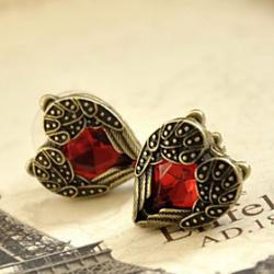 Low Price on Popular Heart style earrings for women decorated with charming red Crystal