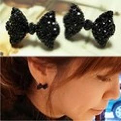 Cheap Western Fashion Simple Black Butterfly Bow Earrings Wholesale XY-E6