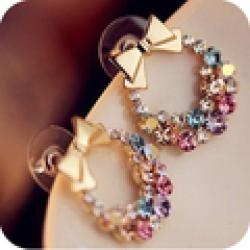 Cheap OMH wholesale 12pair=$0.49/pair EH01 fashion exquisite sparkling crystal bowknot multi colored colorful bow stud earring 4g