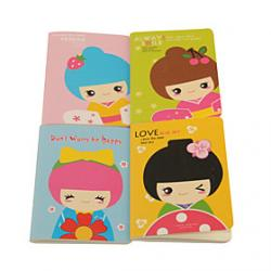 Cheap Korean Doll Pattern Notebook(Random Colors)