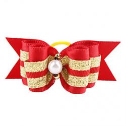 Cheap Golden Ribbon Style Tiny Rubber Band Hair Bow for Dogs Cats