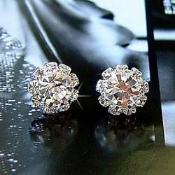 Low Price on Simple fashion shiny Rhinestone Sunflower female models zircon earrings E576